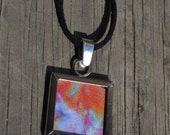 Clearance Sale- Hand Dyed Silk Window Pendant Silver Plated Necklace in Orange, red, purple and blue with Black Suede Necklace