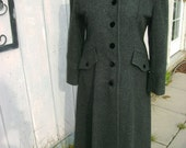 Gorgeous Women's Princess Grey Wool and Velvet LONG Coat 80's does Edwardian size 6 or 8 Reduced