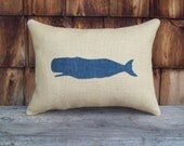 Whale Pillow - Burlap Pillow - Nautical Pillow - STUFFED Decorative Pillow - Coastal Pillow - Rustic Beach Pillow - Feedsack Pillow - Whale