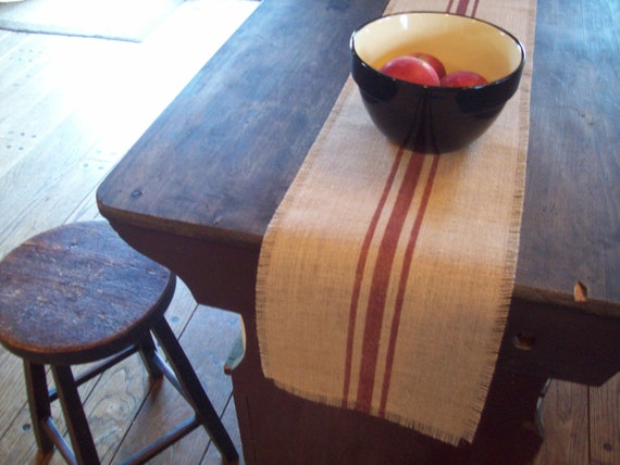 Burlap Table Runner 10 x 48 or 12 x 48 with Barn Red Grain Sack Stripes - Other Colors Available - Farmhouse Runner