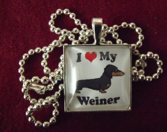Silver Pendant Necklace,  I LOVE MY WEINER Dog Cartoon Image Glass Pendant Necklace Mens Womens Gift  Handmade