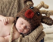 Baby Reindeer hat Ready to ship GREAT photo prop or gift for Christmas In Stock - sizes newborn - child