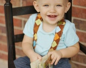 Toddler Boy Suspenders- Brown Argyle Suspenders - Ring Bearer Attire - Wedding - Holiday - Family Picture - Photography Prop