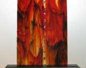 Art Sculpture Fire and Ice Red, Black, Orange and Yellow with Jewels For Home or Office Decor