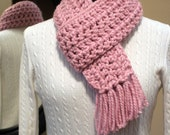 """Women's Crochet Scarf - Light Pink """"Blossom"""" Chunky Winter Scarf - READY TO SHIP"""