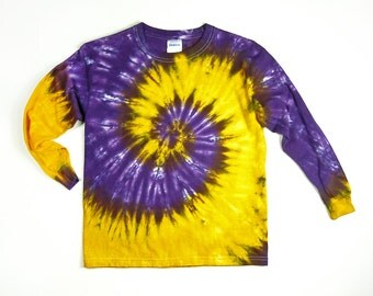 Purple And Gold / Youth Long Sleeve Tie Dye Shirt /   Eco-friendly Dyeing