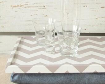 Lap Desk with Pillow- Chevron zig zag print on Desk, denim pillow