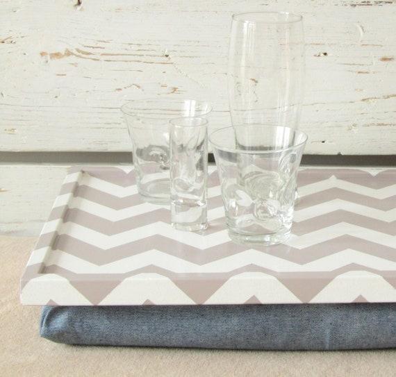Lap Desk with Pillow, decorative tray- Chevron zig zag print on Desk, denim pillow