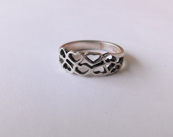 Double Row Open Hearts 925 Sterling Silver Ring - Size 7