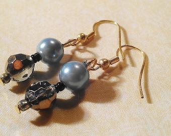 Blue and Dark Glass Crystal Bead Dangle Earrings- Pierced