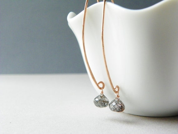 Rose Gold Drop Earrings with Rutilated Quartz. Rose Gold Earrings. Long Gold Earrings. Black Gemstone Earrings. Hammered Gold Jewelry.