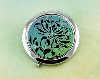 Floral Compact Mirror, Gifts for Women, Victorian Teal Green Blue