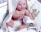 Baby Hooded Towel, Mitt Set, Bath, Beach, animal applique of vintage fabrics, Cotton Waffle weave