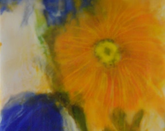 encaustic painting wildflower