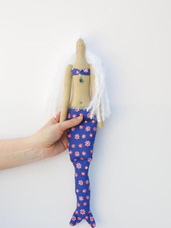 Sweet Mermaid doll handmade fabric doll blue pink - softie plush,cloth doll art doll lovely rag doll blonde Mermaid