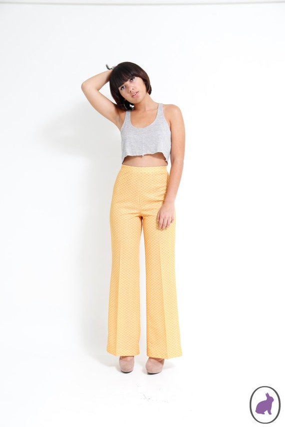 Vintage 70s High Waisted Bright Yellow Poly Pants - Bell Bottoms - Casual House Trousers - Size 10 Womens