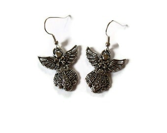 Silver Earrings - Angel Earrings - Angel Charms - Silver Angels