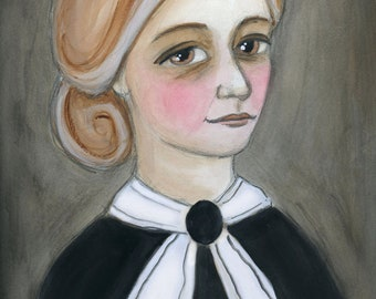 Miss Mary Elizabeth - A Victorian Watercolor Portrait Illustration (6x8) Art Print
