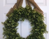 All Season Wreath.  Boxwood and Burlap Fall Wreath - Lush, Extremely Full Faux Boxwood Wreath.  24 Inch.  Two Colors Available.