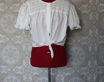 Vintage 1980's white cotton peasant country cropped tie at the waist button down shirt Medium
