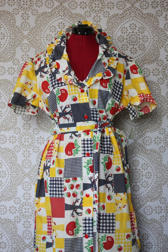 Vintage 1970's Cotton Patchwork Apple Autumnal Dress Deadstock Large XL