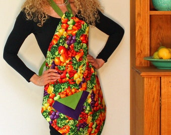 Womens Vintage Apron, Fruit and Veggies Apron