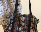 1970s Black Floral Tote with Pattern