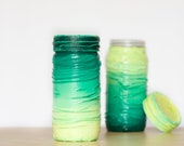 Set of Two Ombre Kitchen Jars, Lime Lemon Green Neon Mint Rustic Hard Distressed Kitchen Jars ohtteam