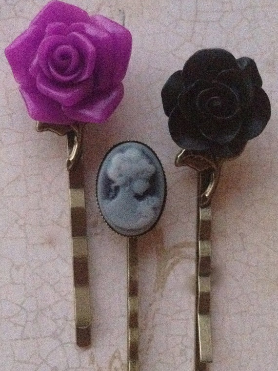 Rose and Cameo Bobby Pins, Hair Accessories, Purple and Black High Quality Flower Cabochon Hair Pins