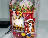 SALE~~~Doggie Christmas Bar/Table Glass Bottle LED Red Lights Accent Lamp/Light-AWESOME