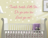 Nursery Quote Saying Wall Decal Twinkle Little Star  Baby Boy Girl Vinyl Sticker