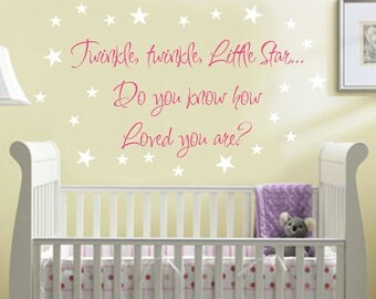 Nursery Quote Wall Saying Wall Decal Twinkle Little Star Baby Girl Nursery Decal Star Decals Nursery Decor Nursery Vinyl Wall Lettering