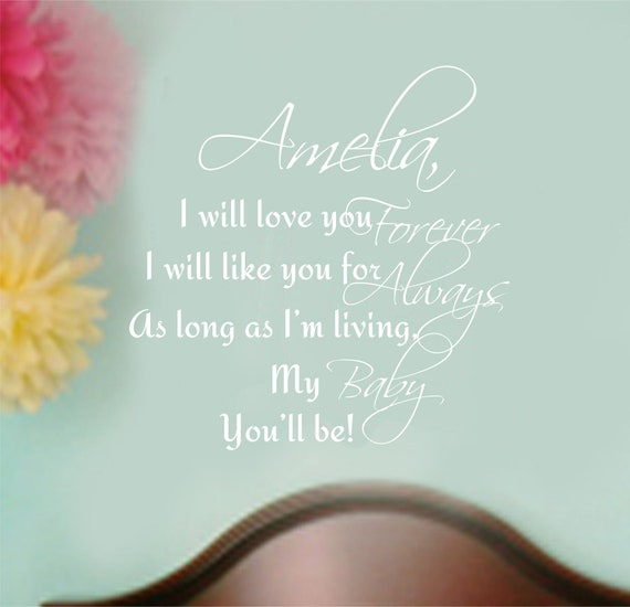 Baby Wall Decor Quotes : Items similar to baby nursery rhyme wall decal name quote