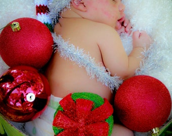 Newborn Stocking Hat Christmas Photo Prop Red Green White Stripe Silver Tail