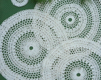 Set of 3 Natural Crochet Doilies and Thank You  Small Gift Doily