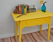Vintage Sunny Painted Desk with Center Drawer