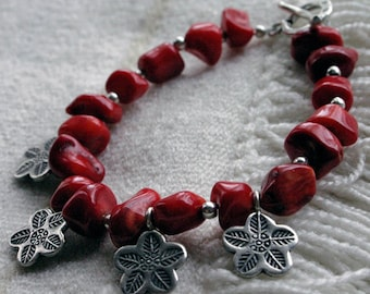 RED Bamboo Coral Bracelet; Thai Hill Tribe Silver Charms; Floral Design; Simple, Elegant, Striking; Hand Stamped Charms; Statement Beads.