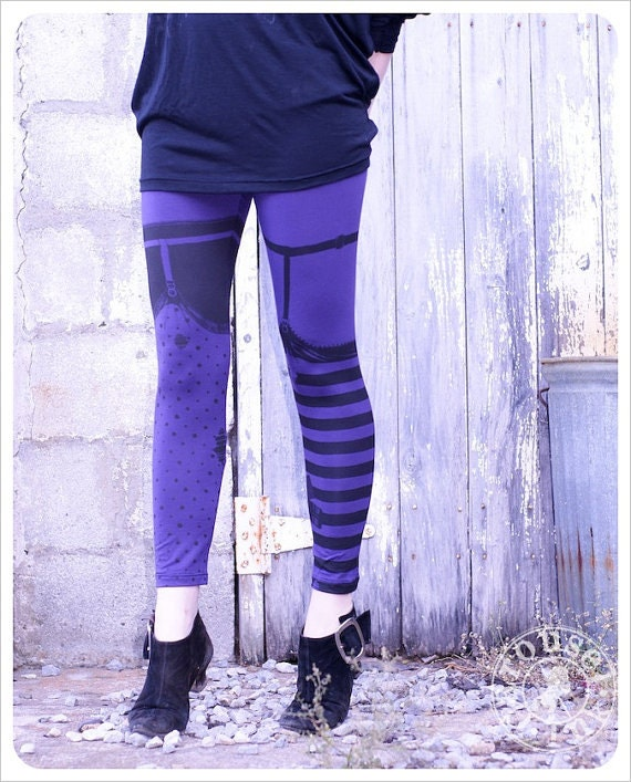 Purple Black Striped Pippi Leggings MEDIUM