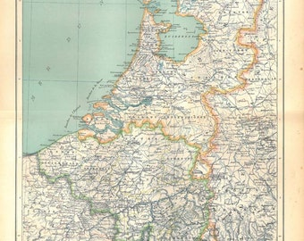 Belgium and Netherlands Vintage Map 1889 Home Decor