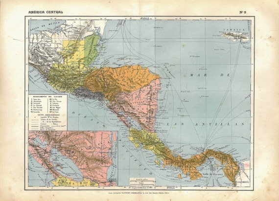 Central America Vintage Map1910s Home Decor to Frame