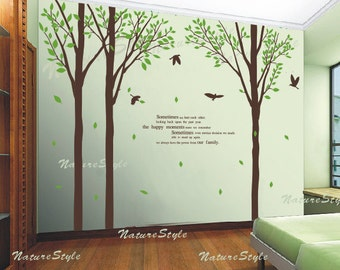wall decal tree wall decal nursery wall decal baby wall decal birds nursery decal tree- 3 Birch Tree with Flying Birds and Letters