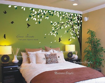 branch wall decal vinyl wall decal sticker wall decal nursery wall decal baby wall decal children wall decal - Branch with Flying Birds