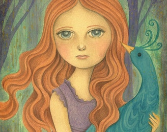 Print of Original Acrylic Painting of Princess and a Bird, Fantasy Art, Girls Room Wall Art, Nursery Decor, Listen to the Forest