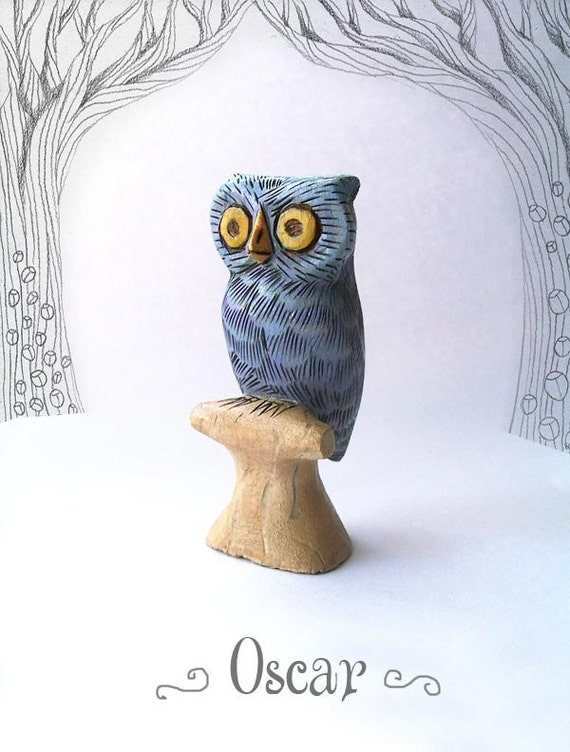 Oscar the Silvery Blue Owl - whimsical small wooden animal carving figurine sculpture