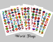 World Flags / 1-inch Circles / Instant Download / Bottlecap Images / 192 Countries Printable Collage / World Countries / Sports / Olympics