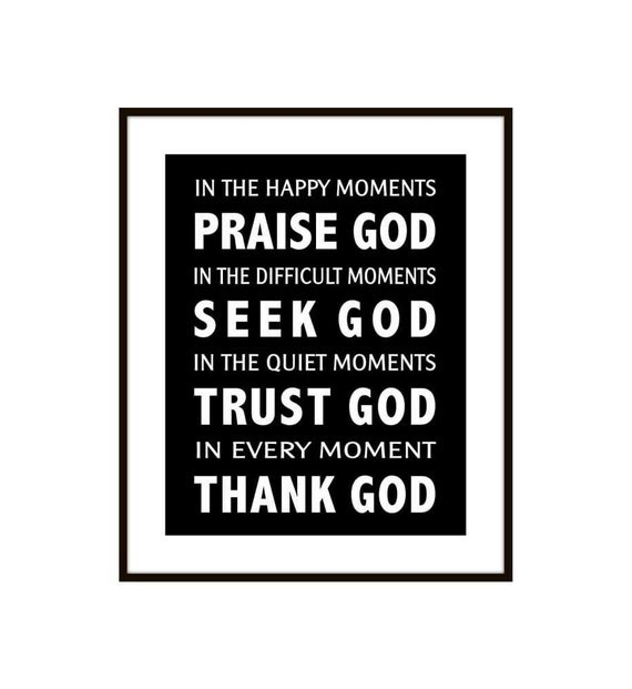 Subway Scripture Art Print Poster - In the Happy Moments Praise God