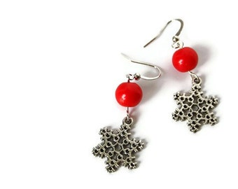 Christmas Earrings - Snowflake Earrings - Red Earrings - Christmas outfit - Christmas Jewelry - Cute Gift for Her - Cool gift for stockings