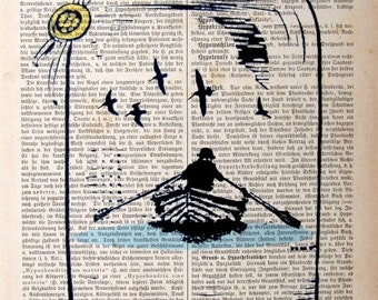 Drawing Illustration NEVER ENDING  Print Poster Mixed Media Painting