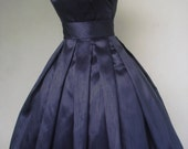 50s style  navy shantung cocktail dress, made to order to your custom specifications. ON SALE!