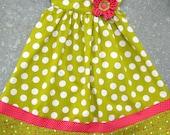Olive Polka Dot Dress--- Size 2